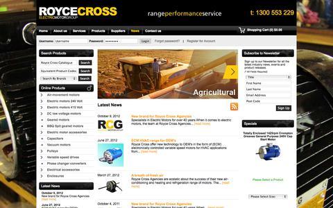 Screenshot of Press Page roycecross.com.au - News - Royce Cross Agencies - captured Oct. 1, 2014