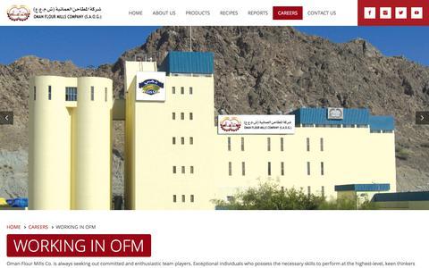 Screenshot of Jobs Page omanflourmills.com - Working in OFM - Oman Flour Mills Co. (SAOG) - captured Feb. 1, 2018