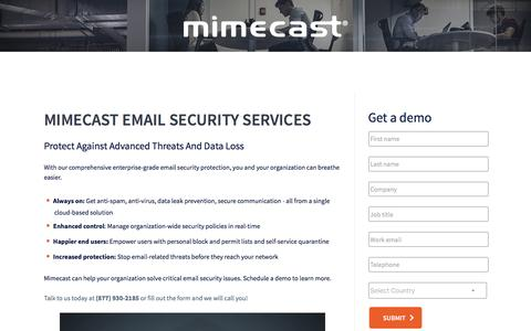 Screenshot of Landing Page mimecast.com - Email Security Solutions | Mimecast - captured Feb. 20, 2017