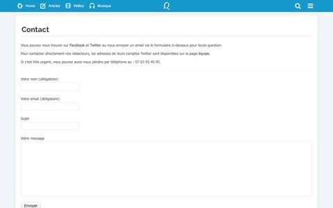 Screenshot of Contact Page quozzy.fr - Quozzy | Contact - captured Sept. 19, 2014