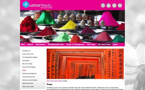 Screenshot of Press Page lotustravel.se - Pressförfrågningar resbranschen - captured Oct. 27, 2014