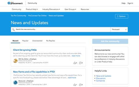 Screenshot of Press Page intuit.com - News and Updates - Tax Pro Community - captured Nov. 21, 2019