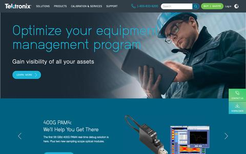 Screenshot of Home Page tek.com - Test and Measurement Equipment | Tektronix - captured Oct. 6, 2018