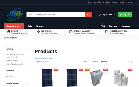 Screenshot of Products Page mianbros.com - Mian Brothers Solar Energy (FMSCO) Products | Dry battery | Dry cell | Solar panels in pakistan | hybrid inverters | Shoto in Pakistan | Brazil dry battery | Buy online - captured Oct. 18, 2018
