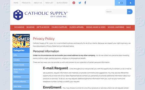 Screenshot of Privacy Page catholicsupply.com - Our Privacy Policy - captured Sept. 6, 2016