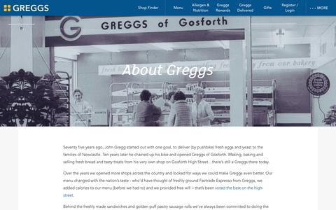 Screenshot of About Page greggs.co.uk - Greggs | About - captured Dec. 18, 2019