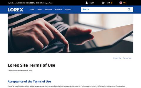 Screenshot of Terms Page lorextechnology.com - Lorex Website Terms of Use - captured Dec. 1, 2019