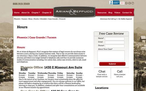 Screenshot of Hours Page bkattorneys-arizona.com - hours - Ariano and Reppucci - Phoenix Bankruptcy Lawyers - captured Oct. 4, 2014