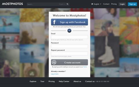 Screenshot of Signup Page mostphotos.com - Mostphotos - captured Jan. 11, 2016
