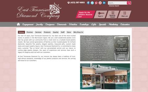 Screenshot of About Page easttennesseediamondcompany.com - East Tennessee Diamond Co.: About Us - History, Products, Quality, Services, Staff and Store - captured Oct. 19, 2016