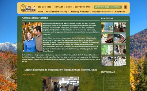 Screenshot of About Page milfordflooring.com - About Milford Flooring - North Conway Flooring Carpets, Hardwood, TileMilford Flooring - captured Sept. 30, 2014