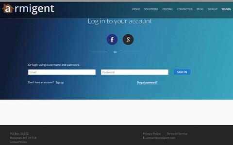 Screenshot of Login Page armigent.com - Account Sign In | Armigent Inspect - captured Sept. 30, 2014