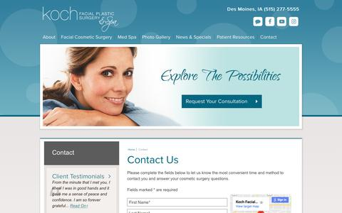 Screenshot of Contact Page kochmd.com - Contact Us About Facial Plastic Surgery in Des Moines, Iowa - captured Oct. 16, 2018