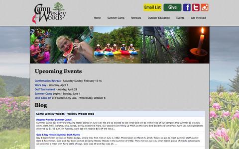 Screenshot of Press Page campwesleywoods.com - News - Camp Wesley Woods - captured Sept. 30, 2014