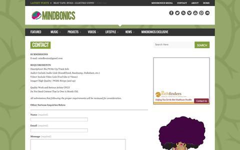 Screenshot of Contact Page mindbonics.com - Contact - MindBonics - captured Oct. 1, 2014