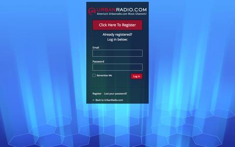 Screenshot of Login Page urbanradio.com - UrbanRadio.com › Log In - captured Feb. 22, 2016