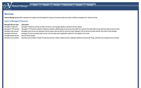 Screenshot of Services Page verticalmanage.com - Vertical Manage Group - Services - captured Oct. 9, 2014
