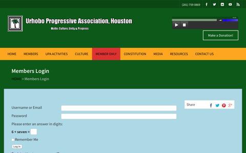 Screenshot of Login Page upahouston.org - Members Login - Urhobo Progressive Association (UPA) Houston, TX, USA - captured Sept. 28, 2018