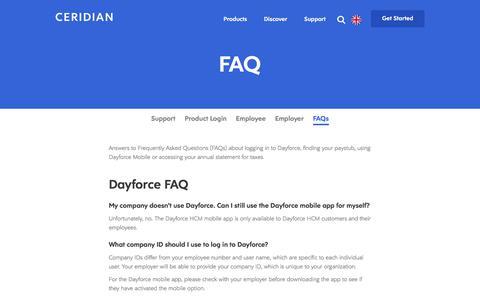 Screenshot of Support Page ceridian.com - FAQ | Dayforce | Powerpay - captured Sept. 19, 2018