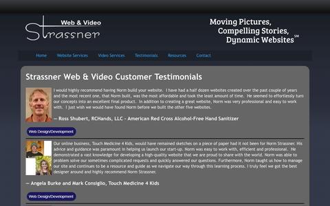 Screenshot of Testimonials Page strassner.com - Strassner Web & Video Customer Testimonials | Strassner Web & Video - captured March 4, 2016