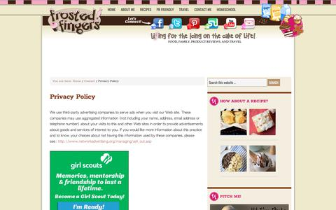 Screenshot of Privacy Page frostedfingers.com - Privacy Policy - Frosted Fingers | Baking & Reviews | Chicago Mom Blogger - captured Sept. 21, 2018