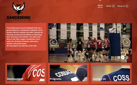 Screenshot of Home Page dandenongcossacks.com - Dandenong Volleyball Club - captured Feb. 6, 2015