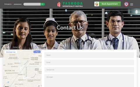 Screenshot of Contact Page yashodahospital.org - Contact - captured Nov. 19, 2016