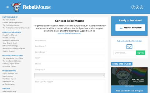 Screenshot of Contact Page rebelmouse.com - RebelMouse - captured Feb. 18, 2020