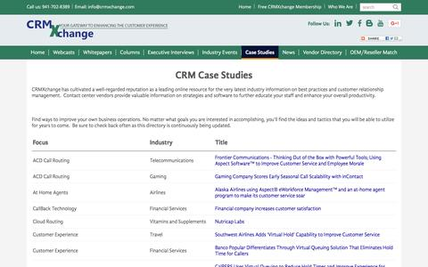 Screenshot of Case Studies Page crmxchange.com - CRM Case Studies: Improve the customer experience in your contact center - captured Jan. 19, 2016