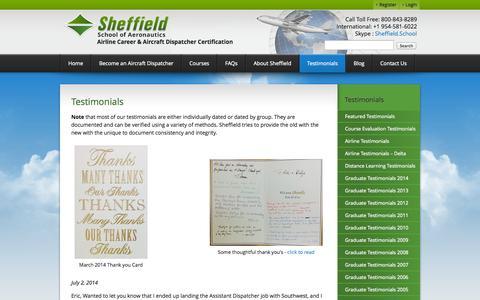 Screenshot of Testimonials Page sheffield.com - Testimonials - Sheffield School of Aeronautics - captured Oct. 7, 2014