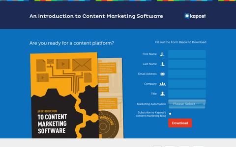 Screenshot of Landing Page kapost.com - Content Marketing Software: An Introduction - captured Oct. 27, 2014