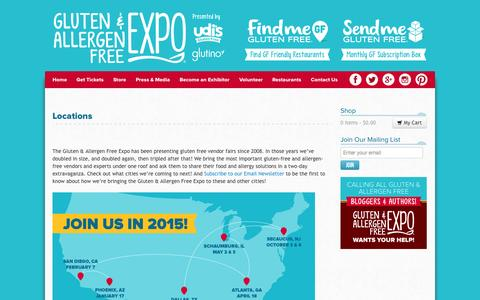 Screenshot of Locations Page gfafexpo.com - Locations of the Gluten Free and Allergen Free Expo | GFAF Expo - captured Nov. 2, 2014
