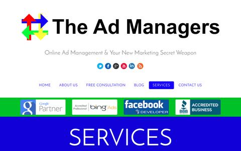 Screenshot of Services Page theadmanagers.ca - Ad Management Services - The Ad Managers - captured Feb. 28, 2016