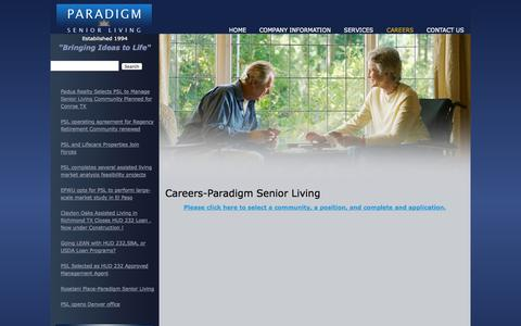 Screenshot of Jobs Page psliving.com - Careers-Paradigm Senior Living - captured Oct. 1, 2014