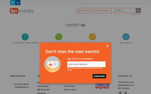 Screenshot of Contact Page brrmedia.co.uk - Contact Us - BRR Media - captured Oct. 5, 2018