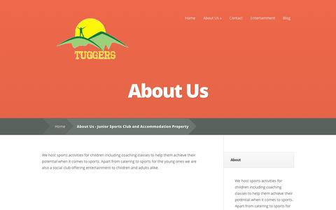 Screenshot of About Page tuggers.com.au - About Us - Junior Sports Club and Accommodation Property - captured March 12, 2016
