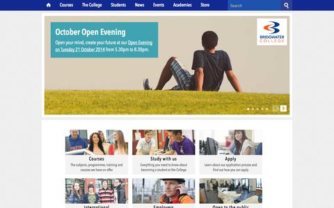 Screenshot of Home Page bridgwater.ac.uk - Bridgwater College, Education and Training Provider in Somerset - captured Oct. 5, 2014