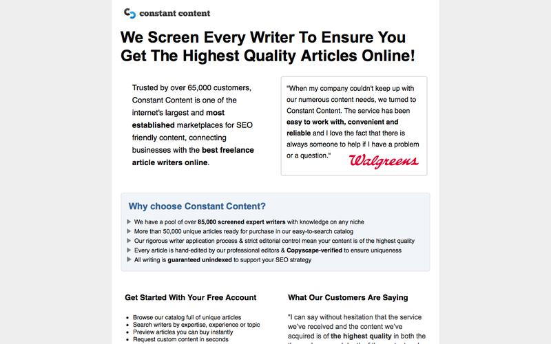 Buy Unique Content for your Website or Request Custom Content Writing from Thousands of Expert Freelance Writers - Constant Content