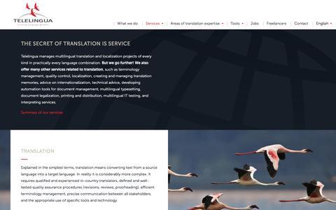 Screenshot of Services Page telelingua.com - Services - Telelingua - captured Nov. 29, 2016