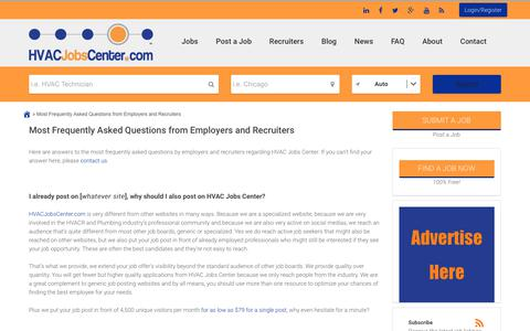 Screenshot of FAQ Page hvacjobscenter.com - Most Frequently Asked Questions from Employers and Recruiters - HVAC Jobs Center - captured Nov. 4, 2018