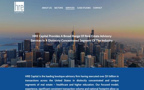 Screenshot of Services Page hrecap.com - Services - Healthcare Real Estate Capital - captured Sept. 27, 2018