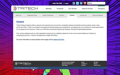 Screenshot of Jobs Page tritech.com - Careers at TriTech - TriTech Software Systems | 911, Computer Aided Dispatch, Police RMS & Public Safety Software - captured Jan. 27, 2016
