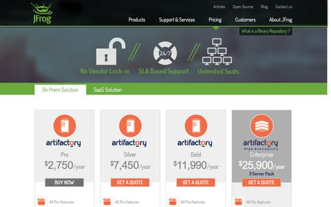 Screenshot of Pricing Page jfrog.com - JFrog - Pricing - Get a quote for Artifactory and Binatray - captured Oct. 28, 2014