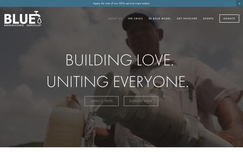 Screenshot of About Page bluemissions.org - ABOUT US Ń BLUE Missions - captured Dec. 28, 2015
