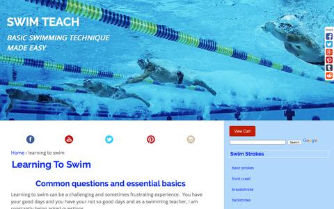 Screenshot of FAQ Page swim-teach.com - Learning To Swim and The Essential Basics You Will Need To Know - captured Oct. 24, 2017