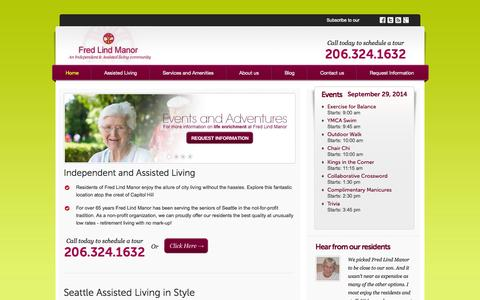 Screenshot of Home Page fredlindmanor.com - Independent and Assisted Living in Seattle | Fred Lind Manor - captured Sept. 30, 2014