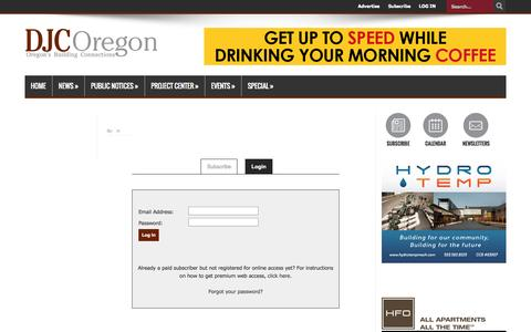 Screenshot of Login Page djcoregon.com - Daily Journal of Commerce | Building and Construction News in Portland, Oregon and the Pacific Northwest - captured Sept. 25, 2014