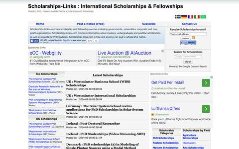 Screenshot of Home Page scholarships-links.com - PhD Scholarships, Masters Scholarships, Postdoc Scholarships and Fellowships, Bachelors Scholarships, Graduate Scholarships - captured Sept. 19, 2014