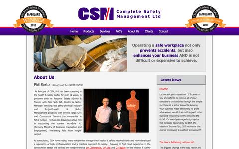 Screenshot of About Page completesafetymanagement.co.nz - About Us - Complete Safety Management - captured Oct. 2, 2014