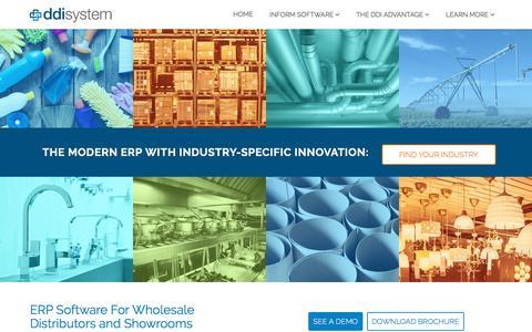 Screenshot of Home Page ddisystem.com - ERP Software for Wholesale Distributors | Distribution Software | DDI System - captured July 8, 2019